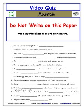 Differentiated Worksheet, Quiz, Ans for Eyewitness * - Mountain