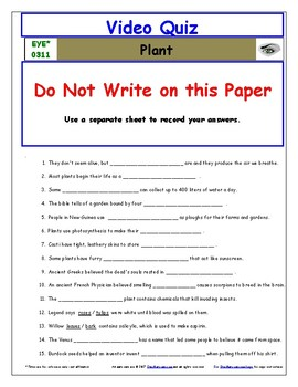 Differentiated Worksheet, Quiz, Ans for Eyewitness * - Plant
