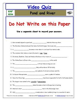 Differentiated Worksheet, Quiz, Ans for Eyewitness * - Pond River