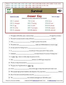 Differentiated Worksheet, Quiz, Ans for Eyewitness * - Survival
