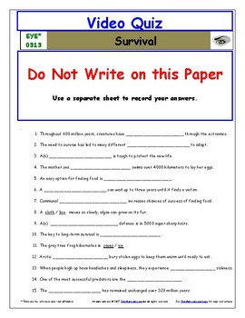 Differentiated Worksheet, Quiz, Ans for Eyewitness * - Survival