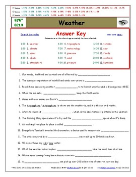 Differentiated Worksheet, Quiz, Ans for Eyewitness * - Weather