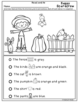 Reading Worksheets - Differentiated: Read and Do November