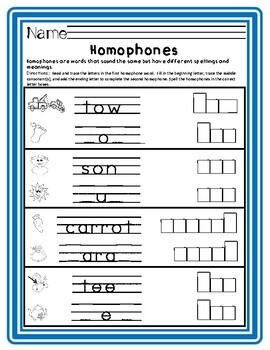 Homophones: Differentiated Worksheets for Common Homophones