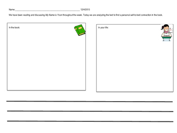 Differentiated Worksheets for the Book: My Name is Yoon