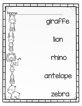 Differentiated Write the Room-African Animals