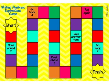 Differentiated Writing Algebraic Expressions Task Cards and Board Game