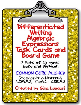 Differentiated Writing Algebraic Expressions Task Cards an