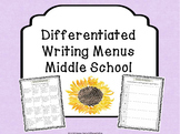 Middle School Differentiated Writing Menus
