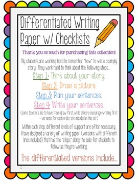 Differentiated Writing Paper K-1