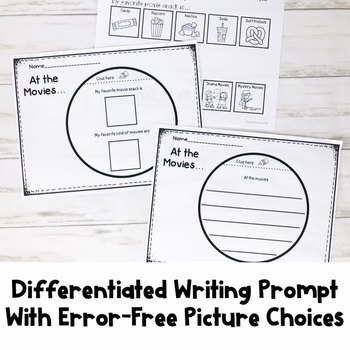 Differentiated Writing Prompt | Movies | Special Education Resource