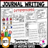 Kindergarten Writing Prompts Differentiated (Visuals & Sentence Frames)-Set 1
