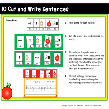 Differentiated Writing for Special Education   APPLE KIDS THEMED