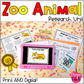 Differentiated Zoo Animal Research Unit for Kindergarten or First Grade