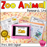 Zoo Animal Research Unit for Kindergarten or First Grade with Google Slides