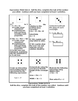 Differentiated activity for expressions Think Dots