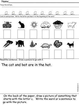 Differentiated hard sound of /c/ worksheets in black and white