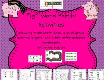 Differentiated ig Word Family Activities