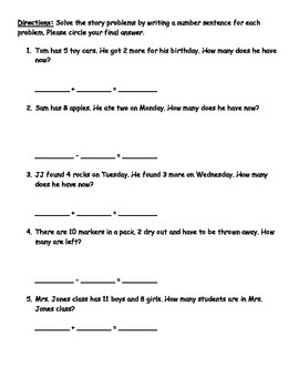 Differentiated math story problems