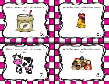 Differentiated ow and ou Task Cards (Vowel Diphthongs)
