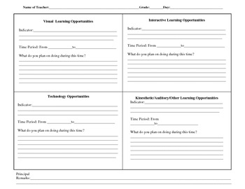 Differentiated planning template
