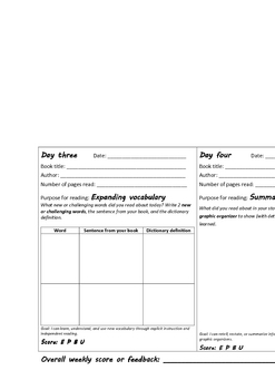 Differentiated reading: Home reading log for intermediate students