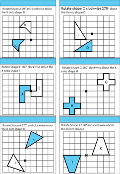 Transformations - Rotations differentiated worksheets