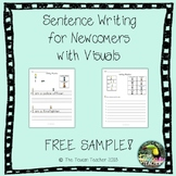 Sentence writing for newcomers with visuals - differentiated FREEBIE