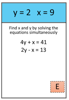 Simultaneous equations differentiated scavenger hunt