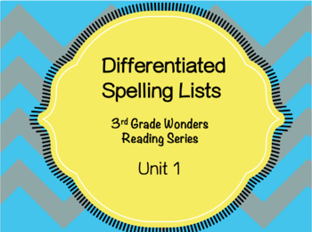 Differentiated spelling lists for Wonders grade 3 Unit 1