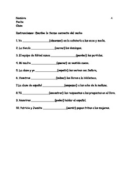 Differentiated stem changing Spanish verb practice with answer