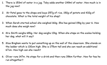 Differentiated word problems Y3 addition and subtraction