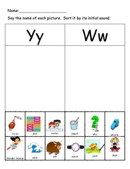 Differentiating Between Y and W Sounds Sort