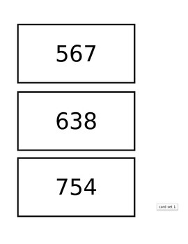 Differentiating: FREE Basic Cards--for Lesson Plan for Ordering Numbers