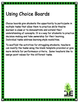 Differentiating with Choice Boards in Middle School