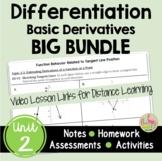 Caculus Differentiation BIG Bundle and Video Lessons (Unit
