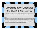 Differentiation Checklist for the ELA Classroom