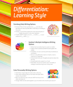 Differentiation: Daily Writing for all learners in all content areas