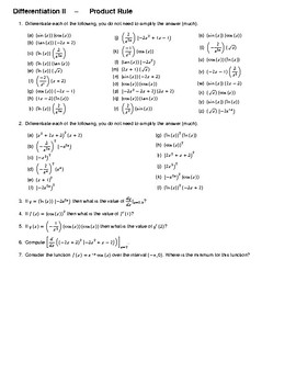 Differentiation II – Product Rule