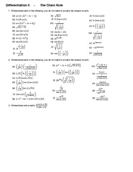 Differentiation II – The Chain Rule