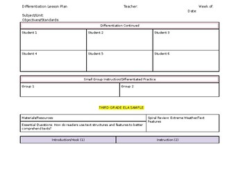 Differentiation Lesson Plan Template