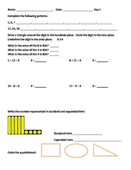 Differentiated Math Below Grade Level Practice Page