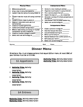 Differentiation Menu Templates for ANY SUBJECT