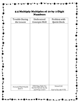 Differentiation Organizer for Go Math Grade 3 Ch 5 – Use Multiplication Facts