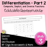 Calculus Differentiation - Part 2 Assessments (Unit 3)