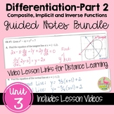 Calculus Differentiation - Part 2 Guided Notes with Video