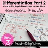 Calculus Differentiation - Part 2 Homework (Unit 3)