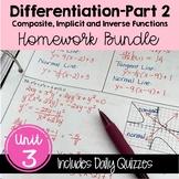Differentiation - Part 2 Homework (Calculus - Unit 3)