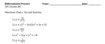 Differentiation Practice