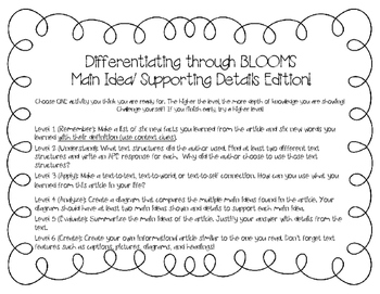 Differentiation through Blooms (Nonfiction Edition)